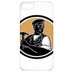 Carpenter Holding Hammer Woodcut Apple Iphone 5 Classic Hardshell Case by retrovectors
