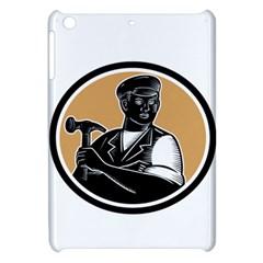 Carpenter Holding Hammer Woodcut Apple iPad Mini Hardshell Case by retrovectors