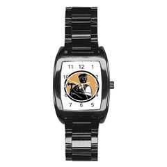Carpenter Holding Hammer Woodcut Stainless Steel Barrel Watch by retrovectors
