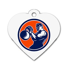 Bodybuilder Lifting Kettlebell Woodcut Dog Tag Heart (one Sided)  by retrovectors