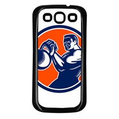 Bodybuilder Lifting Kettlebell Woodcut Samsung Galaxy S3 Back Case (black) by retrovectors