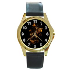 Skull Burning Digital Collage Illustration Round Leather Watch (gold Rim)  by dflcprints
