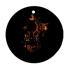 Skull Burning Digital Collage Illustration Round Ornament (two Sides) by dflcprints