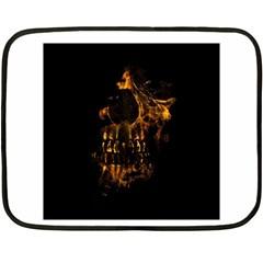 Skull Burning Digital Collage Illustration Mini Fleece Blanket (two Sided)