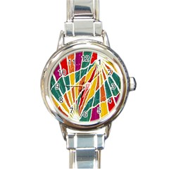 Multicolored Vibrations Round Italian Charm Watch by dflcprints