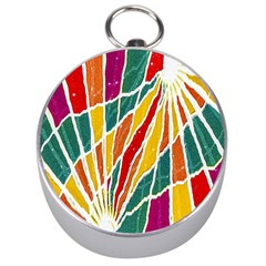 Multicolored Vibrations Silver Compass by dflcprints