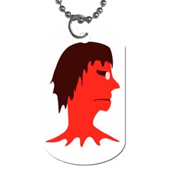 Monster With Men Head Illustration Dog Tag (one Sided) by dflcprints