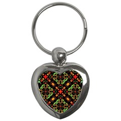 Intense Floral Refined Art Print Key Chain (heart) by dflcprints