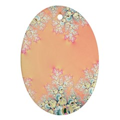 Peach Spring Frost On Flowers Fractal Oval Ornament (two Sides) by Artist4God