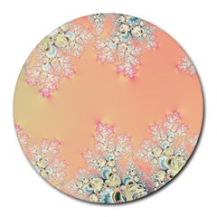 Peach Spring Frost On Flowers Fractal 8  Mouse Pad (round) by Artist4God