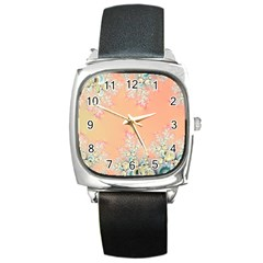 Peach Spring Frost On Flowers Fractal Square Leather Watch by Artist4God