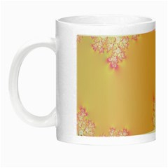 Peach Spring Frost On Flowers Fractal Glow In The Dark Mug by Artist4God