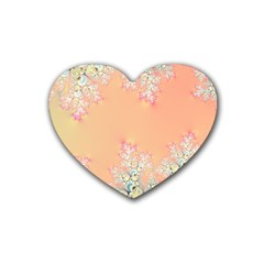 Peach Spring Frost On Flowers Fractal Drink Coasters (heart) by Artist4God