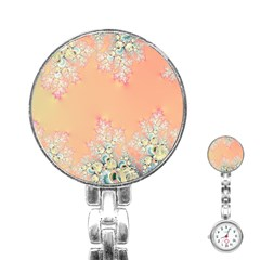 Peach Spring Frost On Flowers Fractal Stainless Steel Nurses Watch by Artist4God