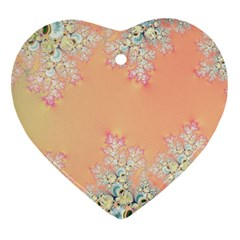 Peach Spring Frost On Flowers Fractal Heart Ornament by Artist4God