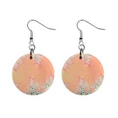 Peach Spring Frost On Flowers Fractal Mini Button Earrings by Artist4God