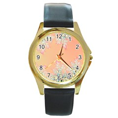 Peach Spring Frost On Flowers Fractal Round Leather Watch (gold Rim)  by Artist4God