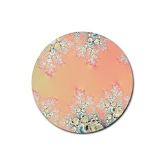 Peach Spring Frost On Flowers Fractal Drink Coaster (round) by Artist4God