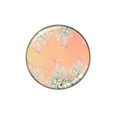 Peach Spring Frost On Flowers Fractal Golf Ball Marker (for Hat Clip) by Artist4God
