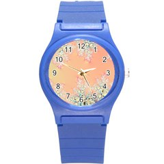 Peach Spring Frost On Flowers Fractal Plastic Sport Watch (small) by Artist4God