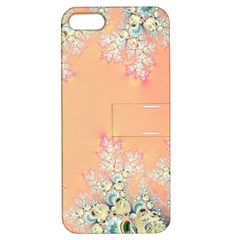 Peach Spring Frost On Flowers Fractal Apple Iphone 5 Hardshell Case With Stand by Artist4God