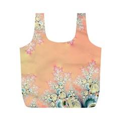 Peach Spring Frost On Flowers Fractal Reusable Bag (m) by Artist4God