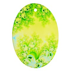Sunny Spring Frost Fractal Oval Ornament by Artist4God