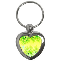 Sunny Spring Frost Fractal Key Chain (heart) by Artist4God