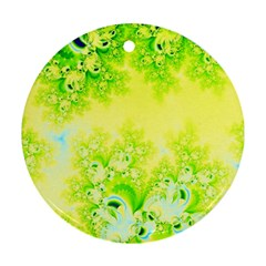 Sunny Spring Frost Fractal Round Ornament (two Sides) by Artist4God
