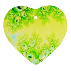 Sunny Spring Frost Fractal Heart Ornament (two Sides) by Artist4God