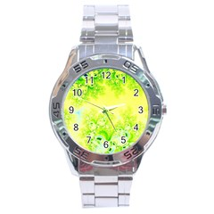 Sunny Spring Frost Fractal Stainless Steel Watch by Artist4God
