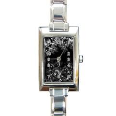 Midnight Frost Fractal Rectangular Italian Charm Watch by Artist4God