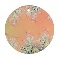 Peach Spring Frost On Flowers Fractal Round Ornament (two Sides) by Artist4God