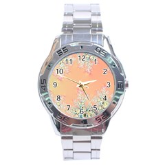 Peach Spring Frost On Flowers Fractal Stainless Steel Watch by Artist4God