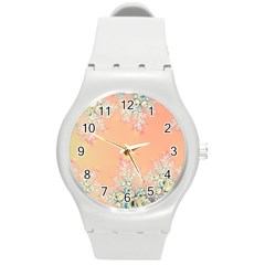 Peach Spring Frost On Flowers Fractal Plastic Sport Watch (medium) by Artist4God
