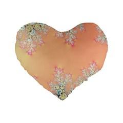 Peach Spring Frost On Flowers Fractal 16  Premium Heart Shape Cushion  by Artist4God