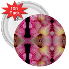 Pink Gladiolus Flowers 3  Button (100 pack) by Artist4God