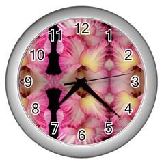 Pink Gladiolus Flowers Wall Clock (silver) by Artist4God