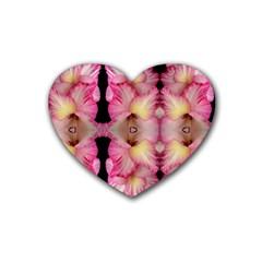 Pink Gladiolus Flowers Drink Coasters 4 Pack (heart)