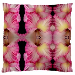 Pink Gladiolus Flowers Large Cushion Case (two Sided)  by Artist4God
