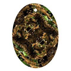 Artificial Tribal Jungle Print Oval Ornament by dflcprints