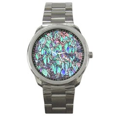 Colored Pencil Tree Leaves Drawing Sport Metal Watch by LokisStuffnMore