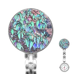 Colored Pencil Tree Leaves Drawing Stainless Steel Nurses Watch by LokisStuffnMore