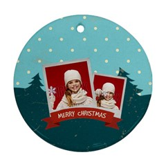 Merry Christmas By Xmas   Round Ornament (two Sides)   Ka64p51krkve   Www Artscow Com Front
