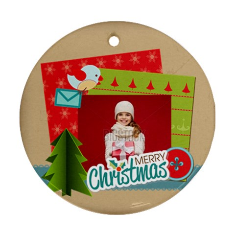 Merry Christmas By Xmas   Ornament (round)   Fe3vwel6v8b1   Www Artscow Com Front