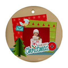 Merry Christmas By Xmas   Round Ornament (two Sides)   Jwmap8iryvqr   Www Artscow Com Back