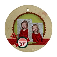 Merry Christmas By Xmas   Round Ornament (two Sides)   5xex45g6exda   Www Artscow Com Back