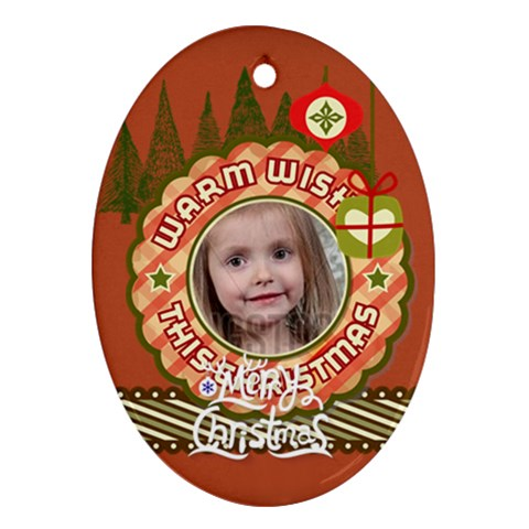 Merry Christmas By Xmas   Ornament (oval)   Ybsj5drfzh2m   Www Artscow Com Front