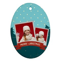 Merry Christmas By Xmas   Oval Ornament (two Sides)   X0idh4vfq0me   Www Artscow Com Front
