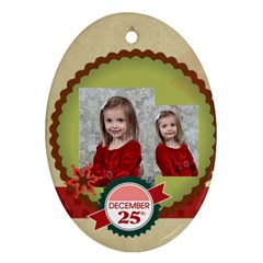 Merry Christmas By Xmas   Oval Ornament (two Sides)   1xwt7jazmy1f   Www Artscow Com Front